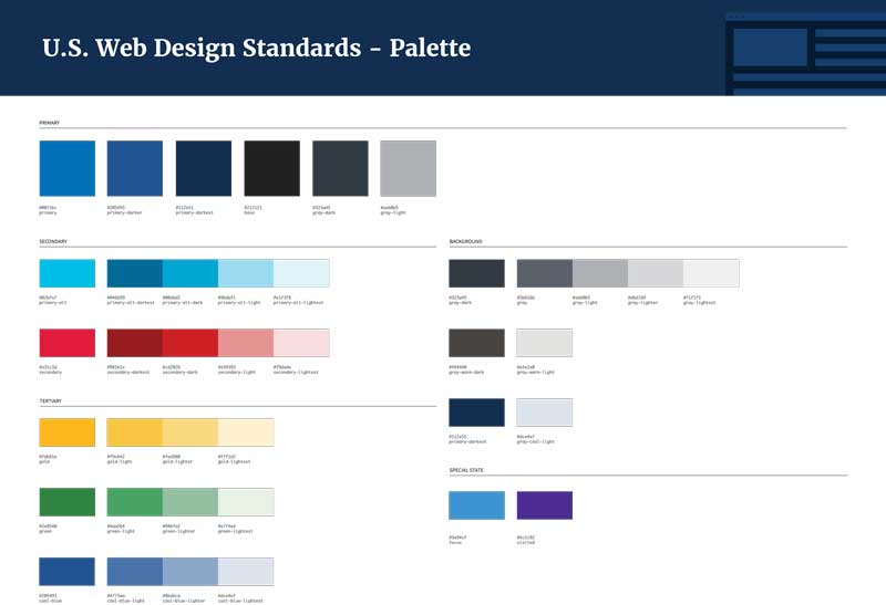 U.S. Web Design Standards Color Palette